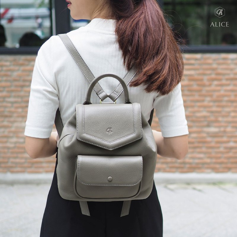 Alice (taupe) : Backpack, cow leather, leather bag, Grey