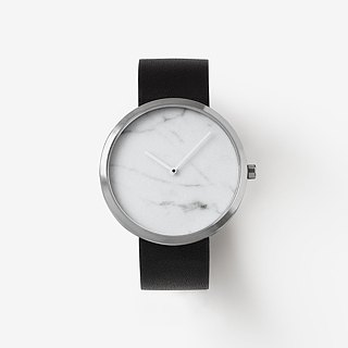 Outline Silver 40mm - Genuine Marble | Swiss Movement | Sapphire Crystal Glass