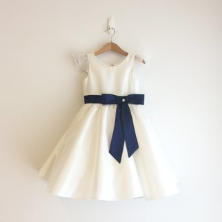 Ivory Pearl Neck Dress with Royal Blue Bow Waist
