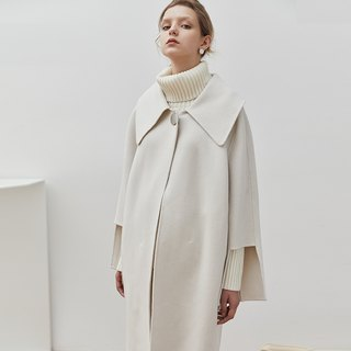 Moonlight dancer beige white minimalist large collar double-faced cashmere wool coat silhouette deconstruction design