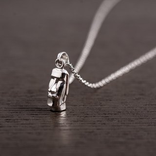 Moai Statues - Silver Necklace - Large