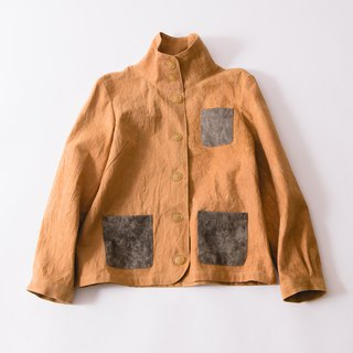 Spring  blouson  Mustard/ natural dye persimon / mikawa cotton100%/jacket