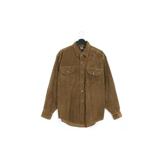 Back to Green :: Corduroy wood green polo / / men and women can wear / / vintage Shirts