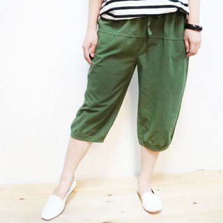 Cotton casual 6 pants / green