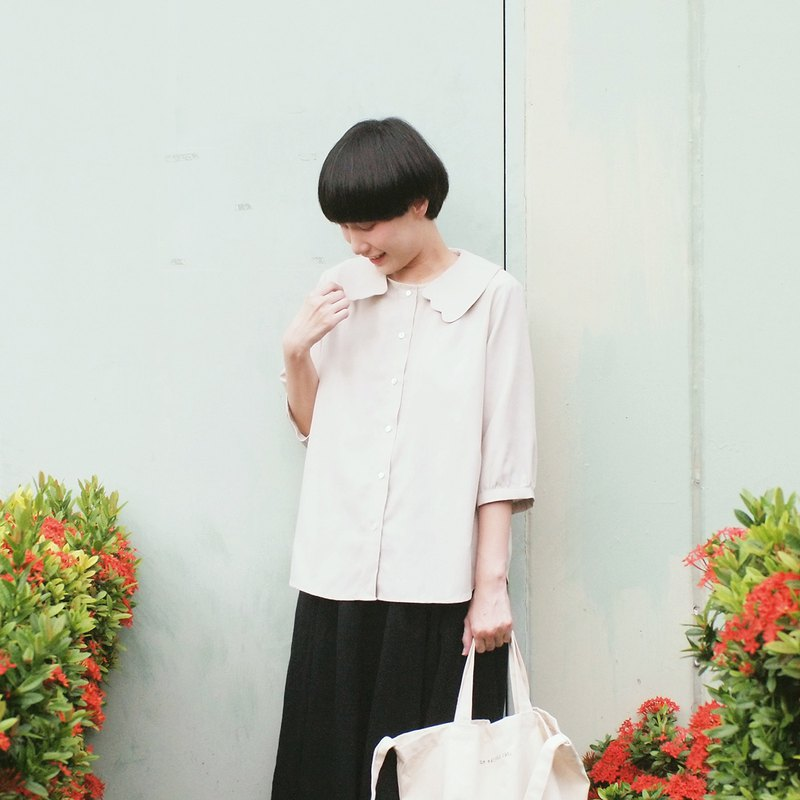 cat paws collar blouse : khaki