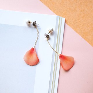 Coral Pink Earrings with pearl /Pierced or Clip-on