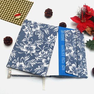 Hibiscus flower book cover with bookmark handmade canvas