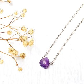 <Pet Love Series-Wisdom> Amethyst Cut Surface 925 Sterling Silver Clavicle Necklace Customized Gift