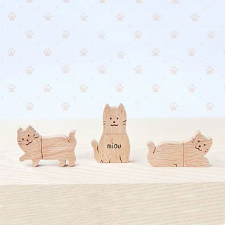 CUSTOMIZABLE Wooden Animal USB Flash drive - Cat