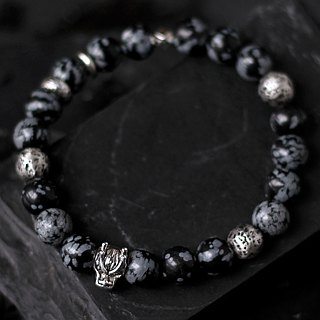 Long interest. Natural ore sterling silver hand beads black alabaster solid sterling silver volcanic stone casting dragon first beads