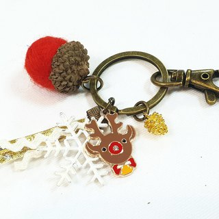 Paris*Le Bonheun. Happy forest. Christmas elk. Wool felt acorn pine cone key ring
