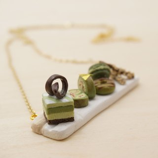 |Matcha Mania|Handmade Polymer Clay 16k Gold-Plated Brass Necklace