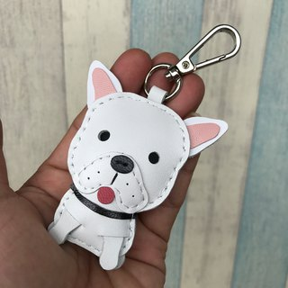 Handmade leather white law dog pure hand-stitched leather keychain small size
