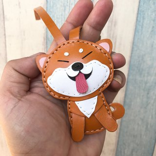 25% off Orange Cute Shiba Inu Dog Handmade Sewn Leather Charm Small Size