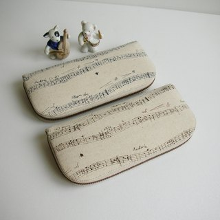 "Music score cotton ""blue word spectrum / cocoa word spectrum"" - long clip / wallet / coin purse / gift"