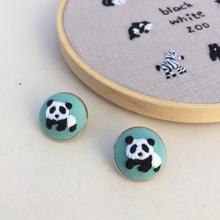 Panda black and white zoo hand embroidery pin