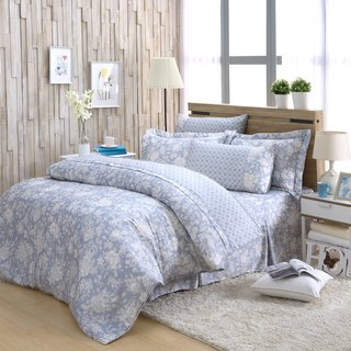 Double size flower language (blue) - Tencel dual-use bed cover six-piece group [100% Lysell]
