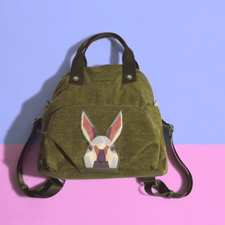 Khieng Atelier after Diamond Rabbit Rabbit diamond shell backpack - olive green