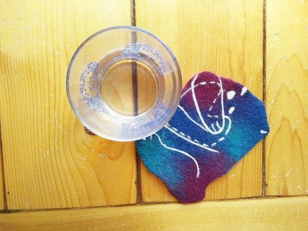Wool felt super texture animal star coaster hug love Taiwan manufacturing limited manual