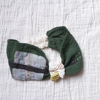 DUNIA handmade/cotton patchwork wide version baby hair band / green