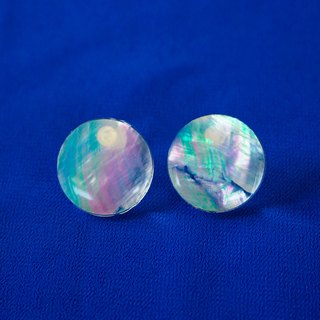 pearl opal earrings (clear/circle)