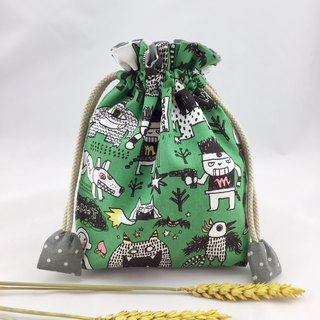 Monsters Athletic Green - Cotton DrawString Bag - Toys / Sundries / Mobile Phone Money Storage