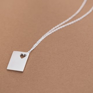 Heart + square necklace silver 925