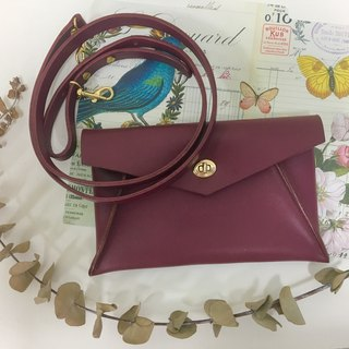 Wine red elegant envelope bag _ leather hand-sewn banquet bag