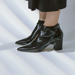 Thin buckle pointed short tube leather thick heel boots black mirror
