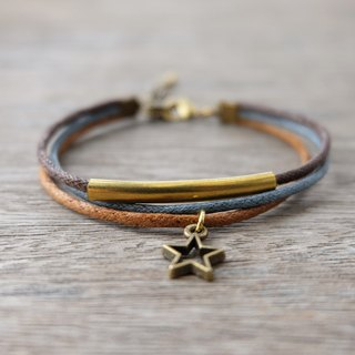 Brown/Gray waxed cord bracelet with brass star