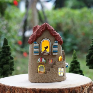 Lighthouse House - Ceramic Lighted House (without wood accessories with hand tree)