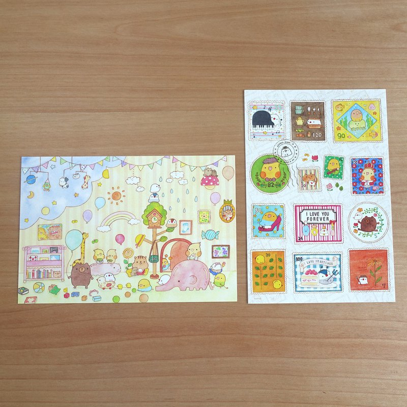 postcard set TOY HOUSE stamps
