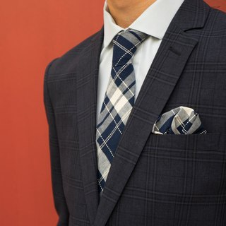 CAVEMAN Pocket Square - Navy Blue Dot Checks
