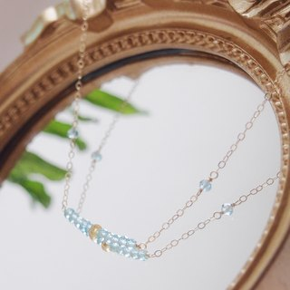 Swanlace Rising Sun Natural Stone Simple Apatite Handmade 14kgf Gold Necklace / Clavicle Chain