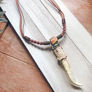 Colorful color silk mountain horn necklace