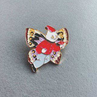 #25 flying white cat pin/brooch/pin