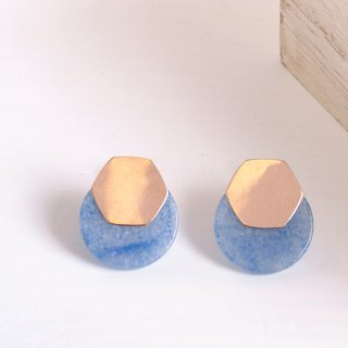 CHILE Studs in Natural Blue Aventurine and 14k Rose Gold-Filled