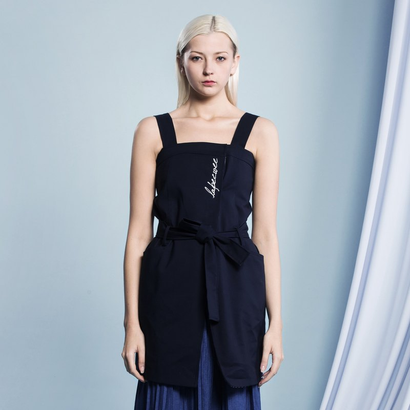 Dark blue harness with a word exposed shoulder dress - Hong Kong original brand Lapeewee