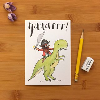YAAARRR DINO PIRATE Viking Dinosaurs Universal Card Hand-painted illustration Environmental Paper Imported Cards 029