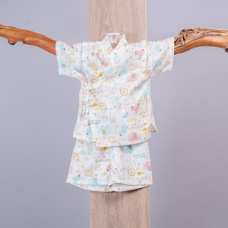 Japanese smooth gauze clothing - Yangshuo animal happy animal hand made yukata very flat baby children's clothing