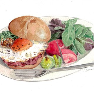 Original Watercolour Painting (A5) - Bacon and Egg Roll
