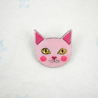 Smile cat - blush red cat pin