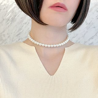 Cotton pearl simple choker SV188