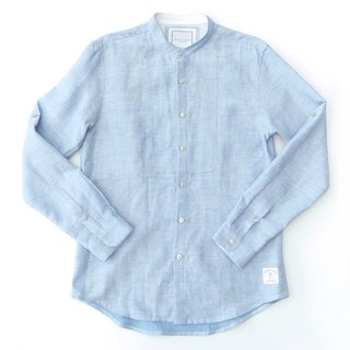 Japanese linen fabric flat waters blue shirt rolled up their sleeves