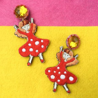 Dancing Little me hand printing embroidery earring