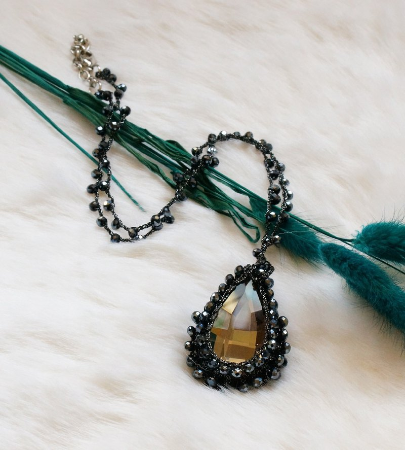 Hand crocheted Glass pendent necklace