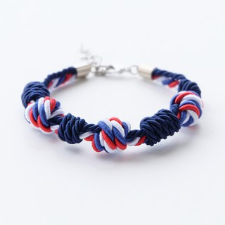 Tri color / Navy blue knot rope bracelet