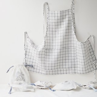Linen Apron Spring Collection Japanese Plaid