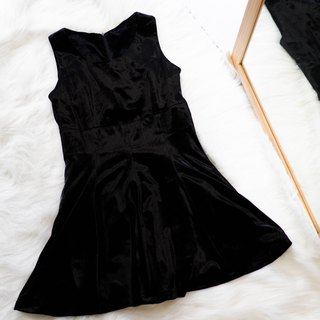 Nagano black black cashmere weekend fun party antique one-piece gold velvet dress