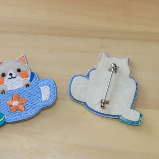 Cloth Embroidery Pin - Baby Braid Series 喵喵 Afternoon Tea (Single)